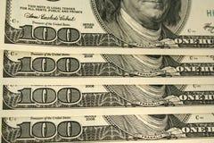 Frente del fondo de la cuenta de dólar de ciento Fotografía de archivo libre de regalías