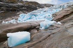 Frente del hielo del glaciar de Nigardsbreen Imagenes de archivo
