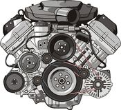 Frente del motor stock de ilustración