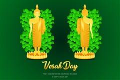 Frente del soporte del phra del monje de Buda del día de Vesak - la visión trasera ruega el frente compuesto concentración del la ilustración del vector