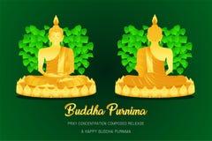 Frente feliz de Buda del phra del monje del purnima de Buda - la visión trasera ruega la fe compuesta concentración de la cultura stock de ilustración