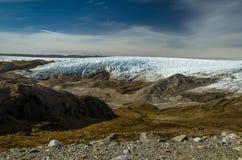 Frente groenlandés del glaciar del casquete glaciar y una moraine a través del valle, punto 660, Kangerlussuaq, Groenlandia fotos de archivo libres de regalías
