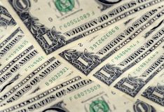 Frente y parte posterior de los billetes de dólar uno en macro Cientos dólares Tiro macro de un 1 dólar Fotos de archivo libres de regalías