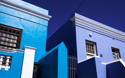 Frentes azules de la casa en Cape Town Fotografía de archivo