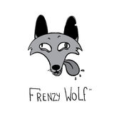 Frenzy wolf cartoon style  logotype. Stock Image