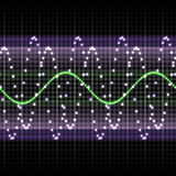 Frequency display. Electronic monitor display with wave oscillation pattern Royalty Free Stock Photo