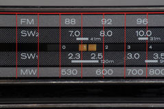 Frequency scanner of old stereo boombox. Detail of the frequency scanner of old stereo boombox Royalty Free Stock Photo