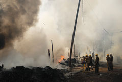 Frequent fire at slums of Kolkata Stock Images