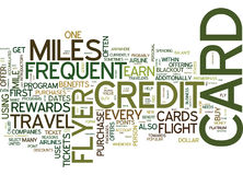 Frequent Flyer Credit Cards Word Cloud Concept Royalty Free Stock Photos