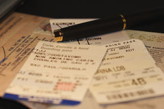 Frequent Flyer I. Life of a frequent flyer: passport & boarding pass Royalty Free Stock Image