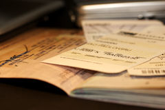 Frequent Flyer II. Life of a frequent flyer: passport & boarding pass Royalty Free Stock Photography