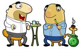 Frequentadores orientais do café Imagens de Stock