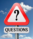 Frequently asked question road sign Royalty Free Stock Photography