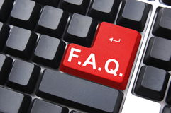 Frequently asked questions. Concept faq written on computer keyboard royalty free stock photo