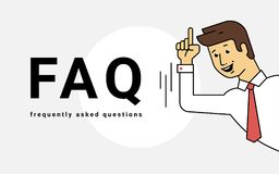 Frequently asked questions concept vector illustration of young smiling man gesturing hands Stock Photography