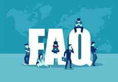 Frequently asked questions concept. Vector of people standing near letters and using digital devices vector illustration