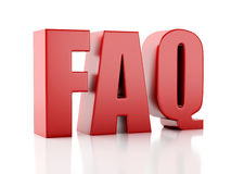Frequently Asked Questions. FAQ concept. 3d illustration Stock Images