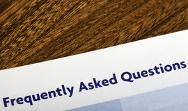 Frequently Asked Questions. Heading in an information booklet Royalty Free Stock Photography