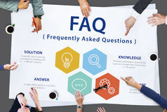 Frequently Asked Questions Solution concept. Frequently Asked Questions solution plan is on discussing Stock Photography