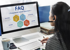Frequently Asked Questions Solution concept stock images