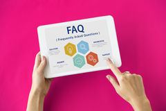 Frequently Asked Questions Solution concept. Woman Using Digital Device Frequently Asked Questions Solution Stock Image