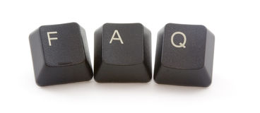 Frequently asked questons. FAQ formed by keys of a computer keyboard Royalty Free Stock Photography