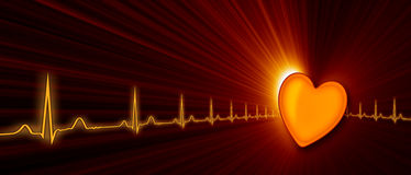 Frequenza cardiaca con il grafico di ECG nel Cyberspace Fotografia Stock