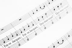 Frere Jacques musical notes Stock Images