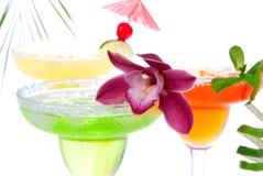Fresa; cal y cocteles anaranjados de los Margaritas Imagen de archivo libre de regalías
