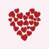 Fresa Corazón presentado de las fresas Un corazón Fotografía de archivo libre de regalías