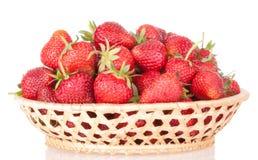 Fresa del rojo de la cesta de las fresas Fotografía de archivo