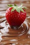 Fresa en chocolate Foto de archivo libre de regalías