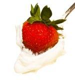Fresa en crema azotada Imagen de archivo libre de regalías