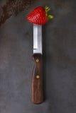 Fresa en el cuchillo Foto de archivo