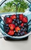 Fresa y arándanos en licuadora con los ingridients para el smoot fotografía de archivo libre de regalías