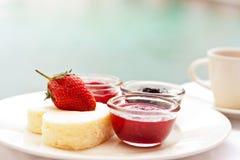 Fresa y pastel de queso frescos Foto de archivo