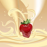 Fresas con leche stock de ilustración