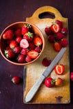 Fresas cortadas Fotografía de archivo libre de regalías