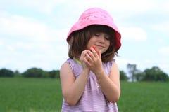 Fresas de la cosecha del niño Fotografía de archivo libre de regalías