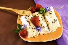 Fresas del chocolate de los Crepes Foto de archivo