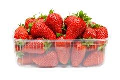Fresas en el empaquetado plástico Fotos de archivo libres de regalías
