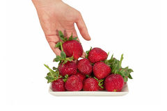 Fresas en el fondo blanco Imagen de archivo libre de regalías