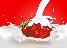Fresas en el yogur blanco ilustración del vector