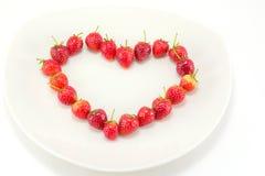 Fresas en forma de corazón Imagen de archivo libre de regalías