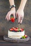 Fresas en la mano Imágenes de archivo libres de regalías