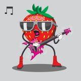 Fresas en las gafas de sol que juegan música pesada de la guitarra Imagen del vector foto de archivo