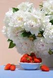 Fresas en platillo en el fondo de las peonías blancas Imagenes de archivo