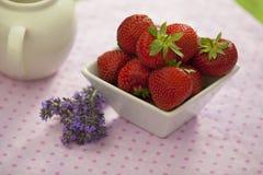 Fresas en un cuenco anguloso blanco fotos de archivo