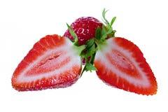 Fresas frescas cortadas por la mitad Imágenes de archivo libres de regalías