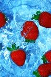 Fresas frescas en agua Fotos de archivo libres de regalías